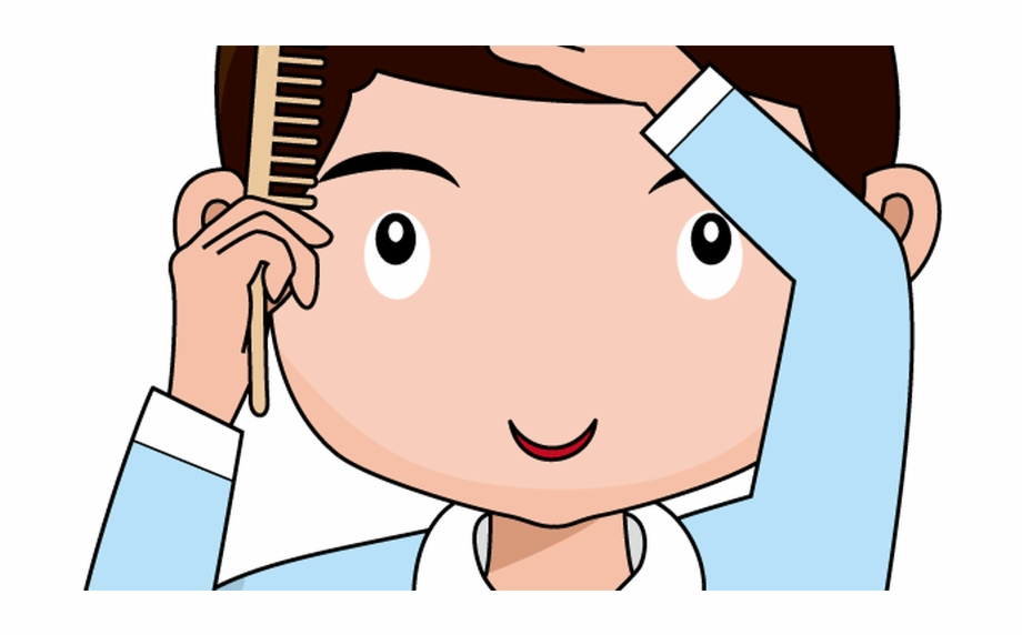 Brush hair clipart black and white free jpg download Jpg Transparent Library Combing Black And White Vector - Boy Brush ... jpg download