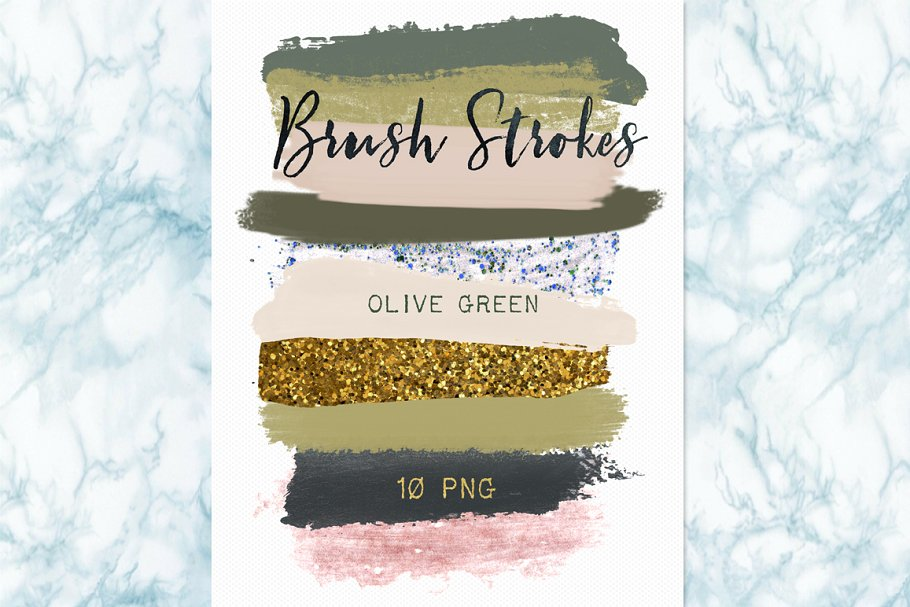 Brush strokes glitter clipart