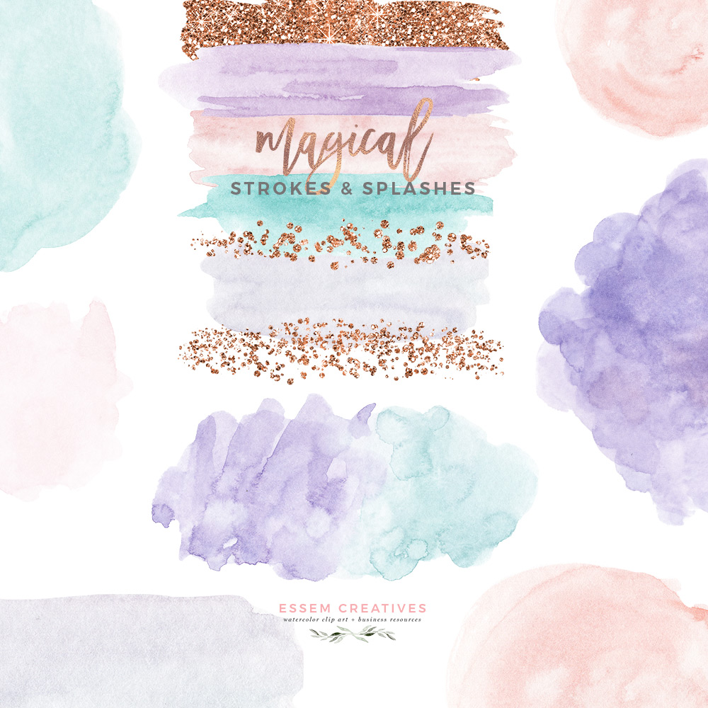 Watercolor brush stroke clipart freeuse library Watercolor Brush Strokes Clipart, Rose Gold Glitter Splash Paint Splatter  with Transparent Background freeuse library