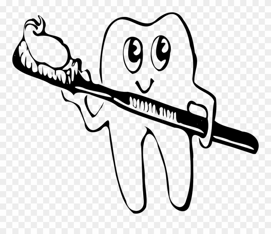 Brush teeth clipart black and white clip royalty free Daily Brush - Brush Teeth Clipart Black And White - Png Download ... clip royalty free