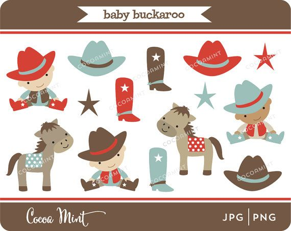 Buckeroo clipart image freeuse stock Baby Buckaroo Cowboy Clip Art by cocoamint on Etsy | Buckaroo ... image freeuse stock
