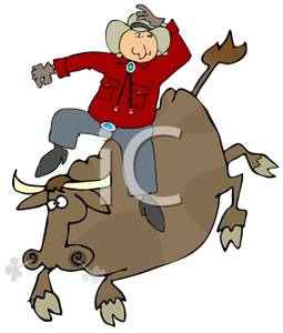 Buckeroo clipart svg free library A Colorful Cartoon of a Buckaroo on a Bull - Royalty Free Clipart ... svg free library
