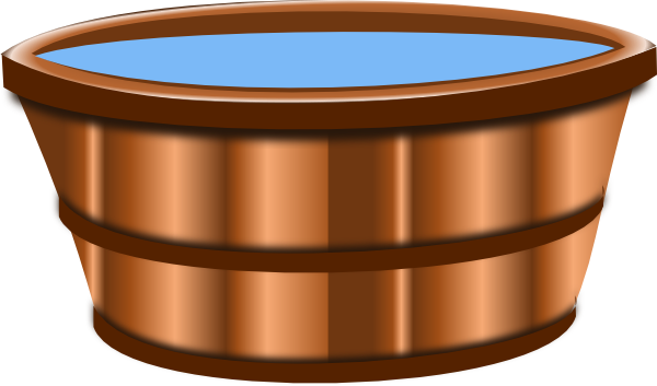 Wooden bucket pouring water clipart