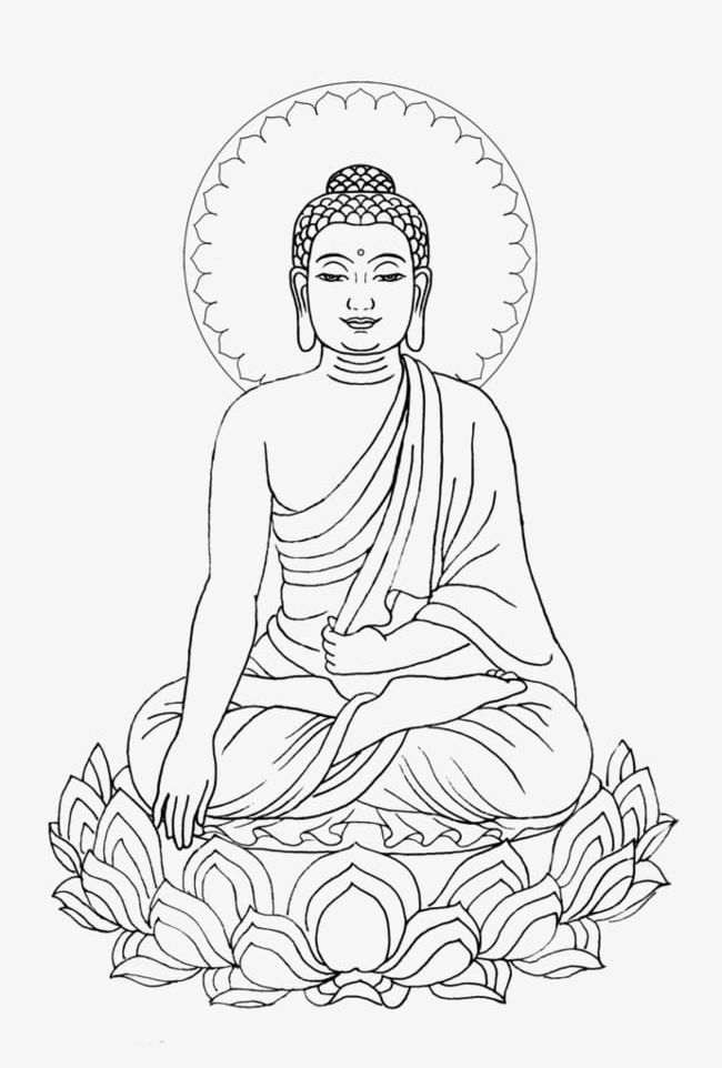 Buddha clipart lotuscolor png library stock Simple Hand-painted Shakya Muni Buddha Lotus Meditation PNG, Clipart ... png library stock