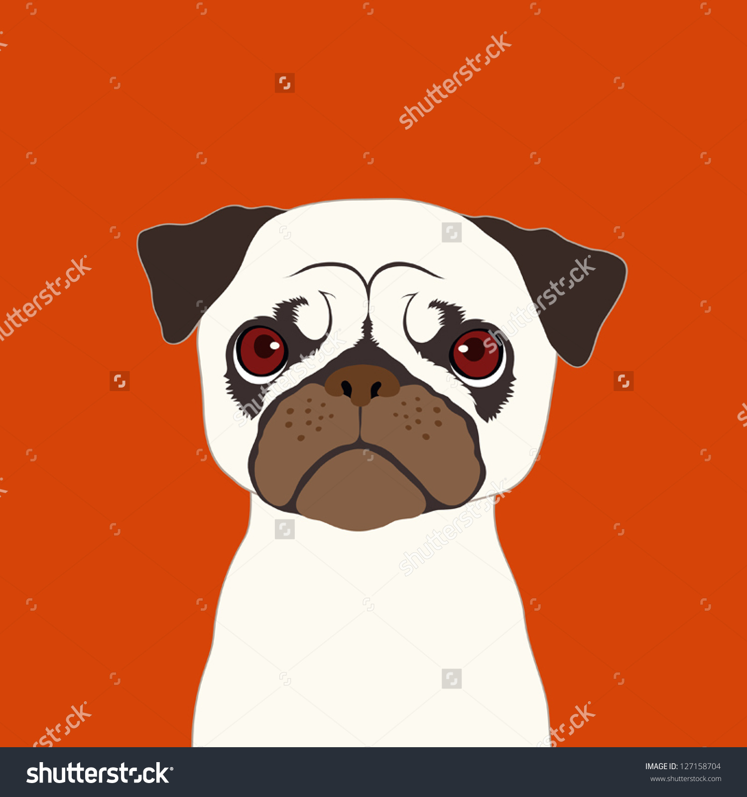 Buddy the dog clipart picture library library Pug, The Buddy Dog Stock Vector Illustration 127158704 : Shutterstock picture library library