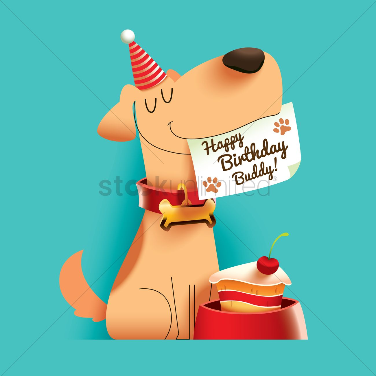 Buddy the dog clipart image black and white download Dog with happy birthday buddy note Vector Image - 1797678 ... image black and white download