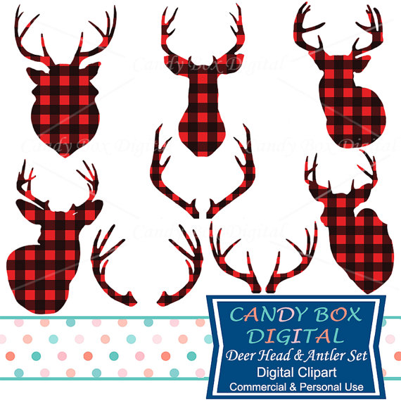 Buffalo check christmas clipart clip stock Deer Head and Antler Clipart, Red Buffalo Check Plaid Deer Clip Art ... clip stock