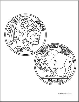 Buffalo nickel clipart graphic black and white stock Clip Art: Indian Head Nickel (coloring page) I abcteach.com | abcteach graphic black and white stock