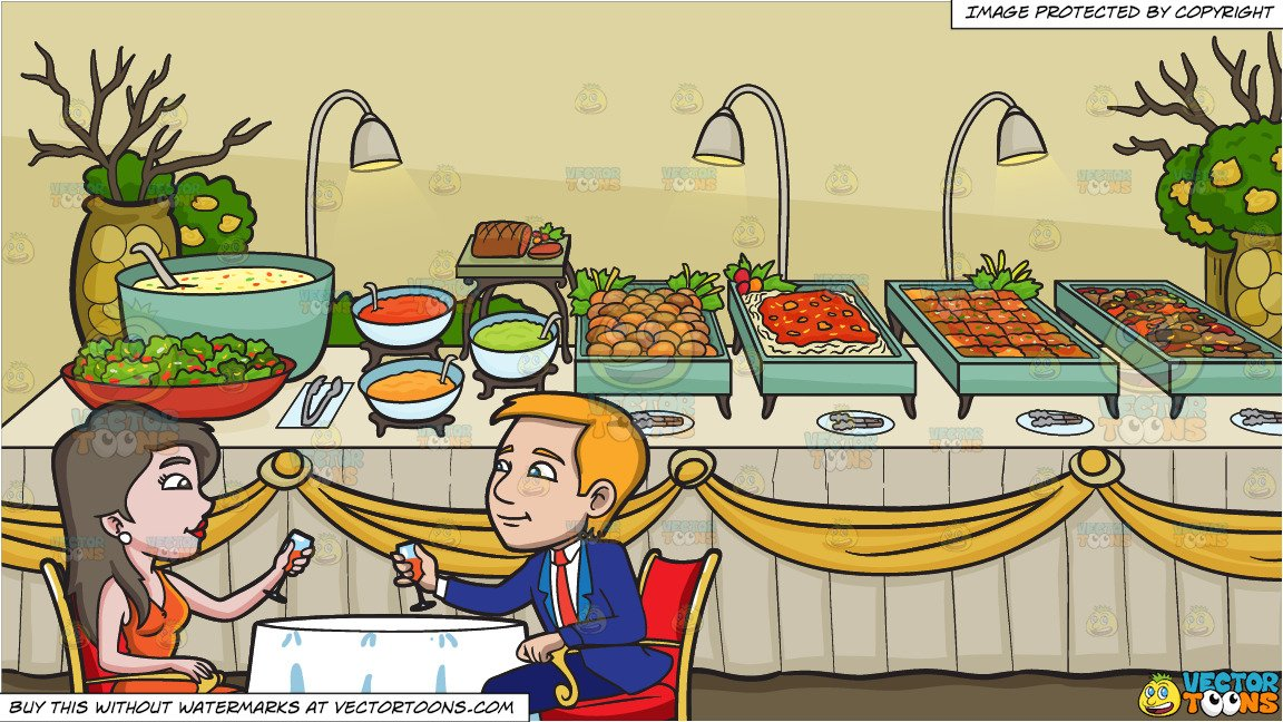Buffet table clipart banner transparent A Couple Celebrating Their Anniversary and A Savory Food Buffet Table  Background banner transparent