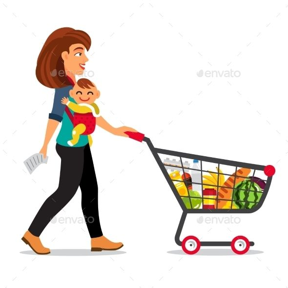Buggy with food clipart svg library stock Download Free Graphicriver Young Mother with Son Baby #baby #basket ... svg library stock