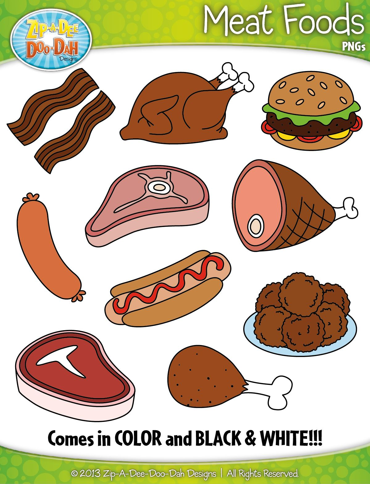 Buggy with food clipart royalty free Meat Foods Clipart {Zip-A-Dee-Doo-Dah Designs}   ppl   Food clipart ... royalty free