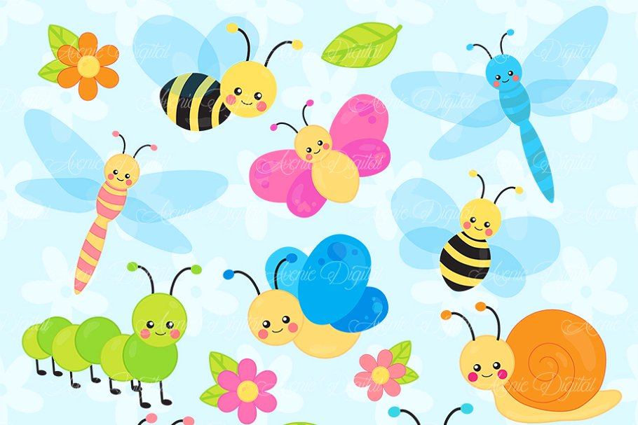 Pollinator garden clipart svg black and white Cute Garden bugs Clipart svg black and white