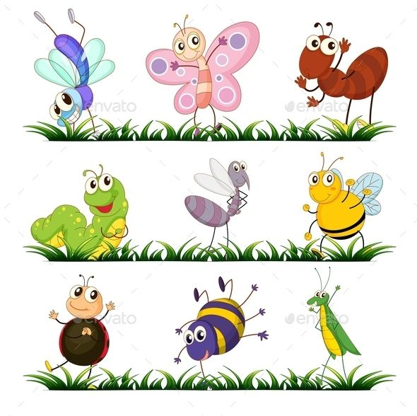 Bugs group clipart vector download Illustration of a group of insects | Business Flyer Template ... vector download