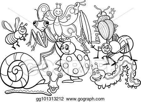 Bugs group clipart png black and white Vector Illustration - Cartoon insects animal characters coloring ... png black and white