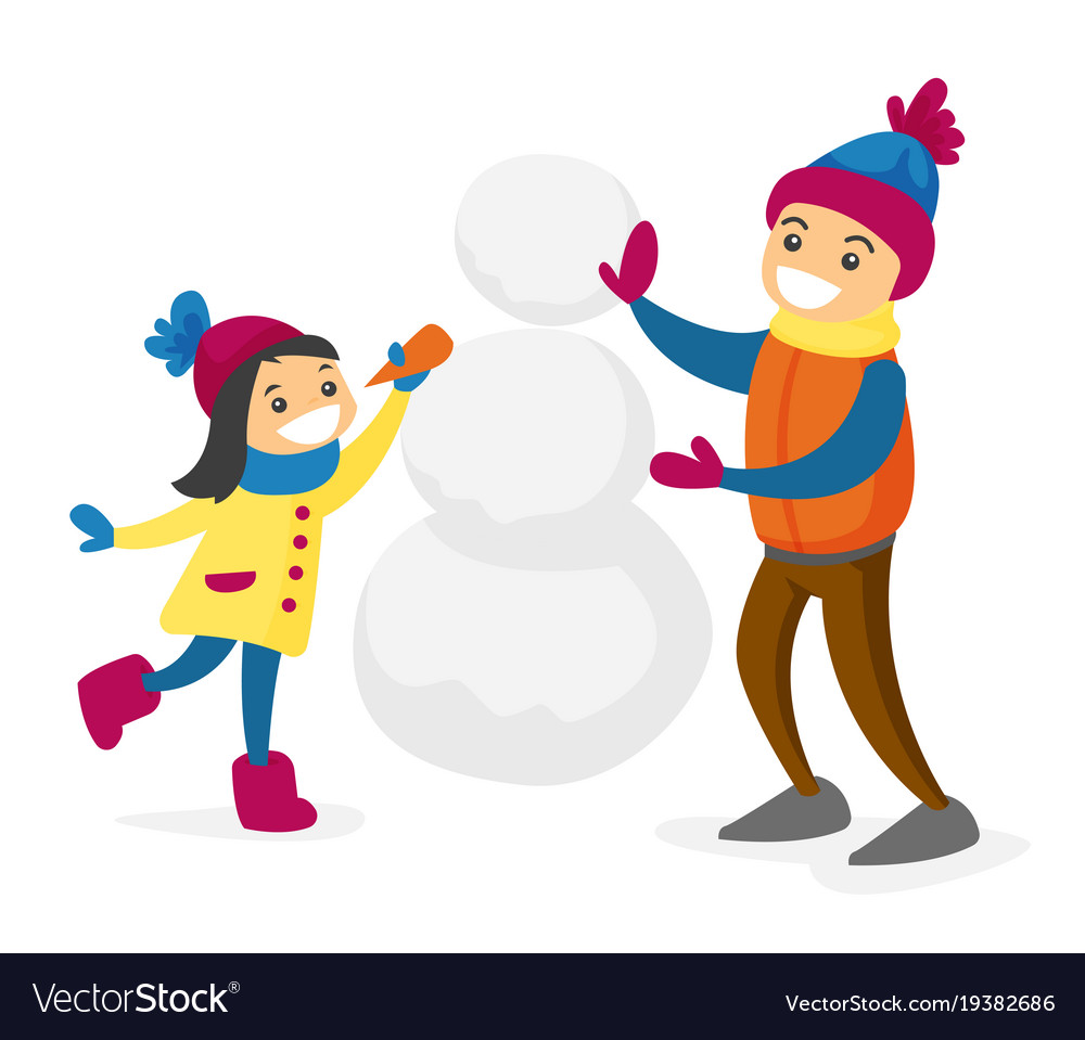 Kids building a snowman clipart jpg library stock Caucasian white boy and girl building a snowman jpg library stock