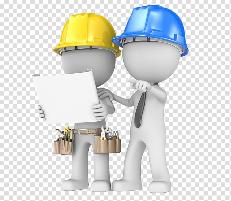 Builder clipart hat andblueprints and a tool
