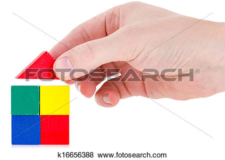 Building a house with wooden blocks clipart clip library stock Pictures of Hand building a house using wooden blocks k16656388 ... clip library stock