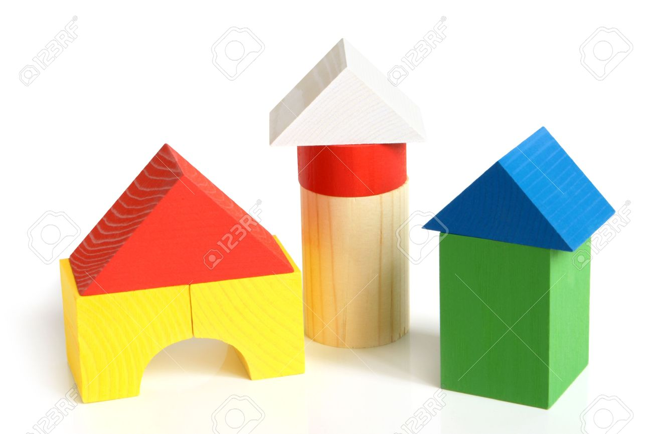 Building a house with wooden blocks clipart clip House Made From Children's Wooden Building Blocks On A White ... clip