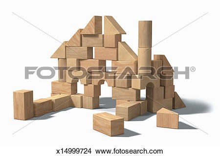 Building a house with wooden blocks clipart banner library download Stock Photo of Building blocks in shape of incomplete house ... banner library download