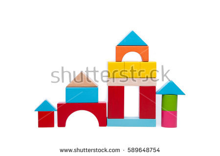 Building a house with wooden blocks clipart clip art download Wooden Block Building Game Castle Modern Stock Vector 411538762 ... clip art download
