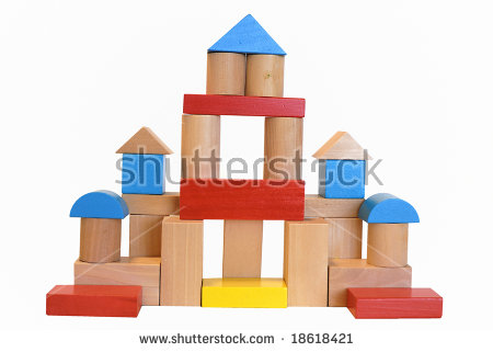Building a house with wooden blocks clipart jpg library Wooden Building Block House Isolated On Stock Photo 18618421 ... jpg library