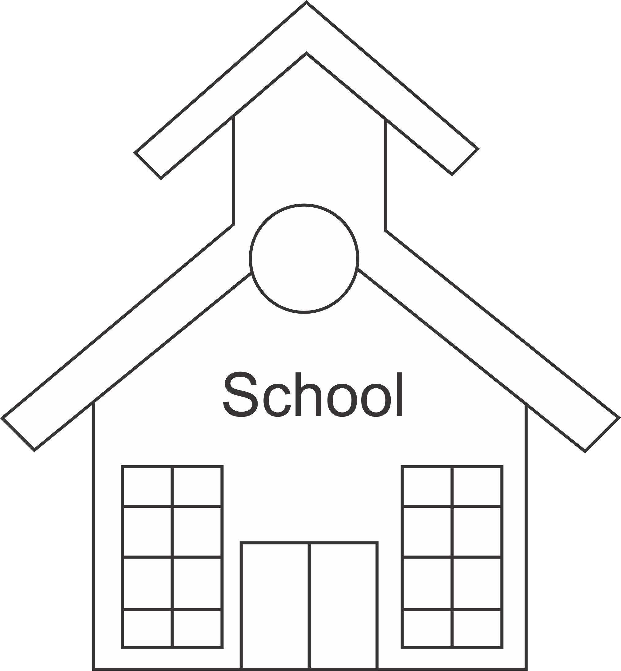 School clipart outline image 28+ Collection of School Clipart Black And White Png | High quality ... image