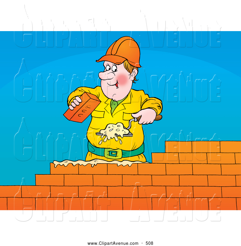 Building a wall clipart svg royalty free Avenue Clipart of a Friendly Male White Brick Layer Using a Trowel ... svg royalty free