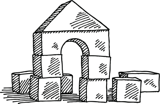 Building blocks clipart black and white