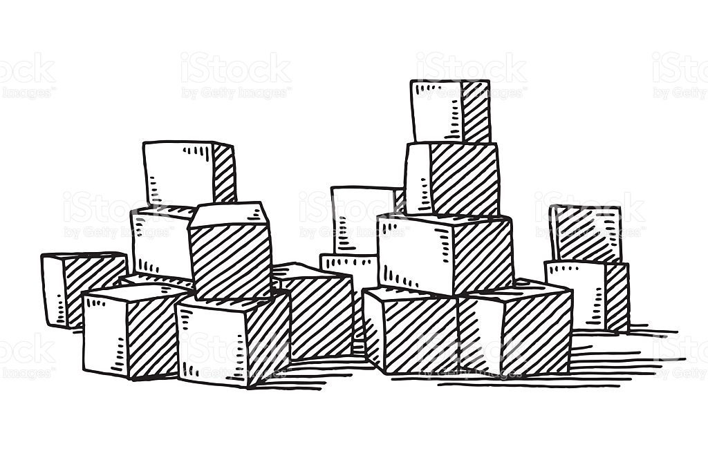 Building blocks clipart black and white graphic library download Group Of Building Blocks Drawing stock vector art 498763170 | iStock graphic library download