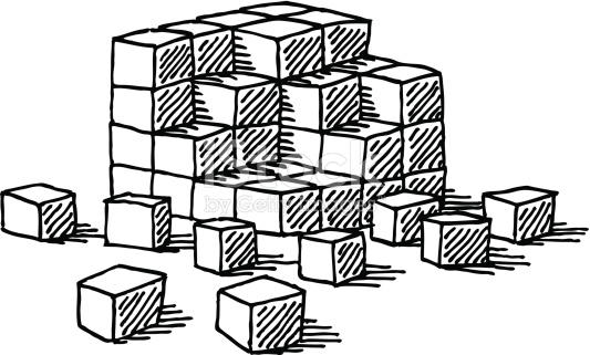 Building blocks clipart black and white clipart freeuse stock Building Blocks Cubes Drawing stock vector art 454803671 | iStock clipart freeuse stock