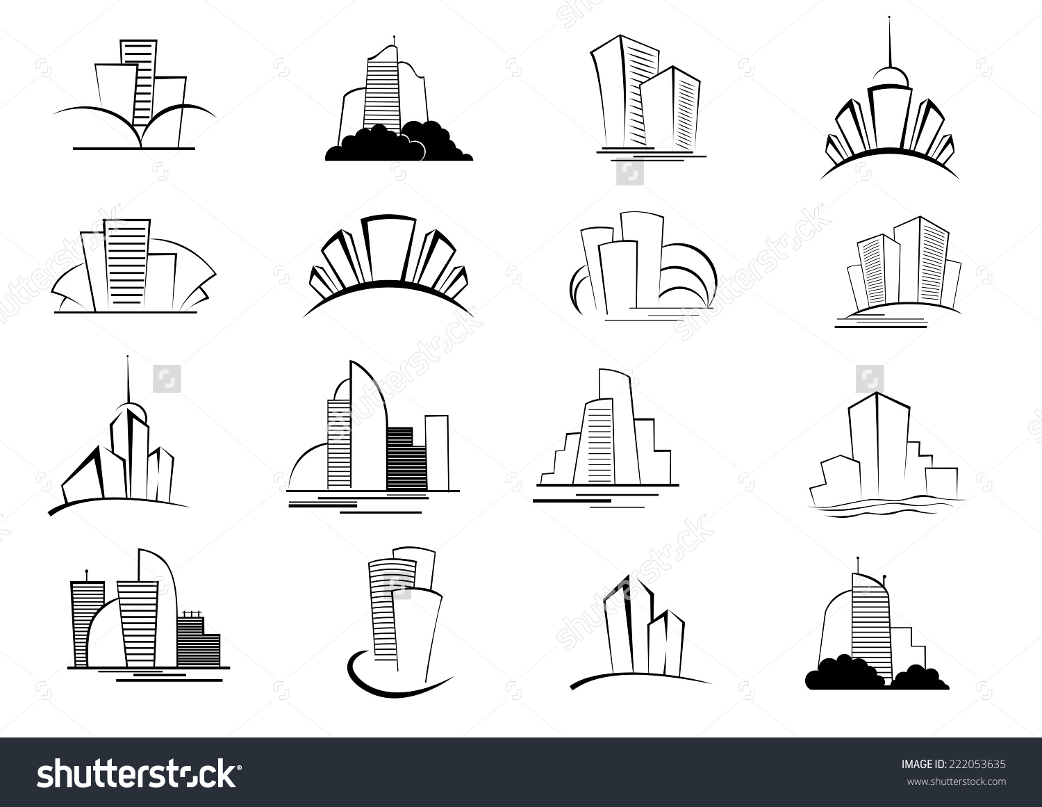 Building blocks clipart blank outline image royalty free Set Stylized Outline Building Architectural Icons Stock Vector ... image royalty free