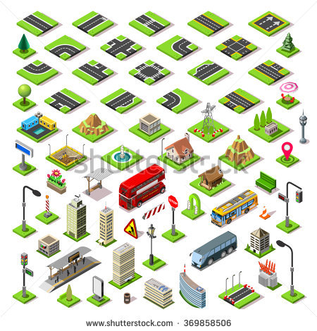 Building blocks game clipart clipart black and white Isometric Building Block Road Street Game Stock Vector 369858506 ... clipart black and white