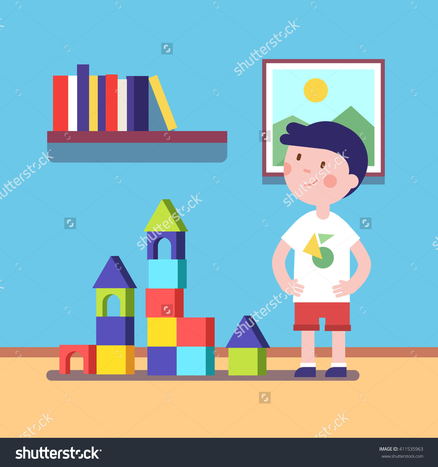 Building blocks game clipart image black and white stock Boy Build Castle Wooden Blocks Building Stock Vector 411535963 ... image black and white stock