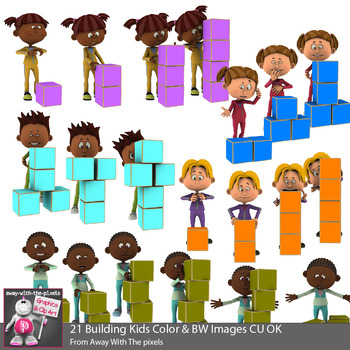Building blocks tower clipart svg freeuse library Kids Building Towers With Blocks Clip Art - STEM clipart - 20 Color & 20 B&W svg freeuse library