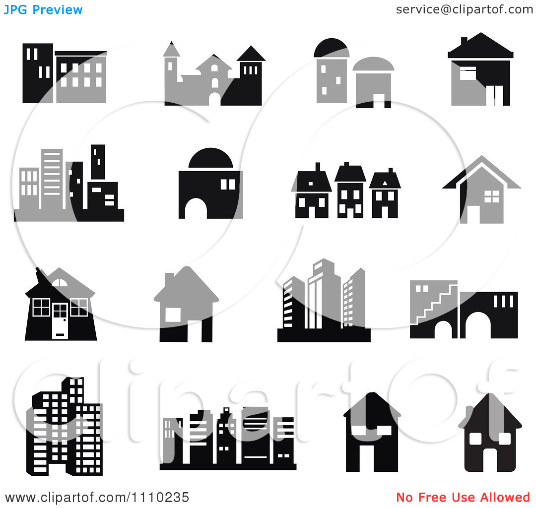Building clipart vector banner freeuse library Clipart Black And White Building Icons - Royalty Free Vector ... banner freeuse library