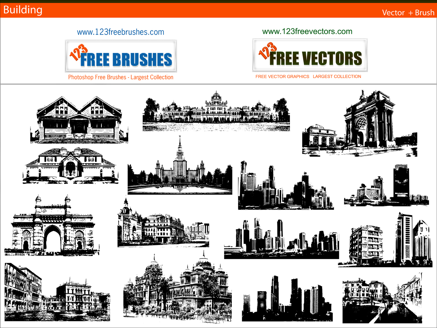 Building clipart vector free download svg freeuse stock Buildings free vector and photoshop brush pack Free Vector / 4Vector svg freeuse stock