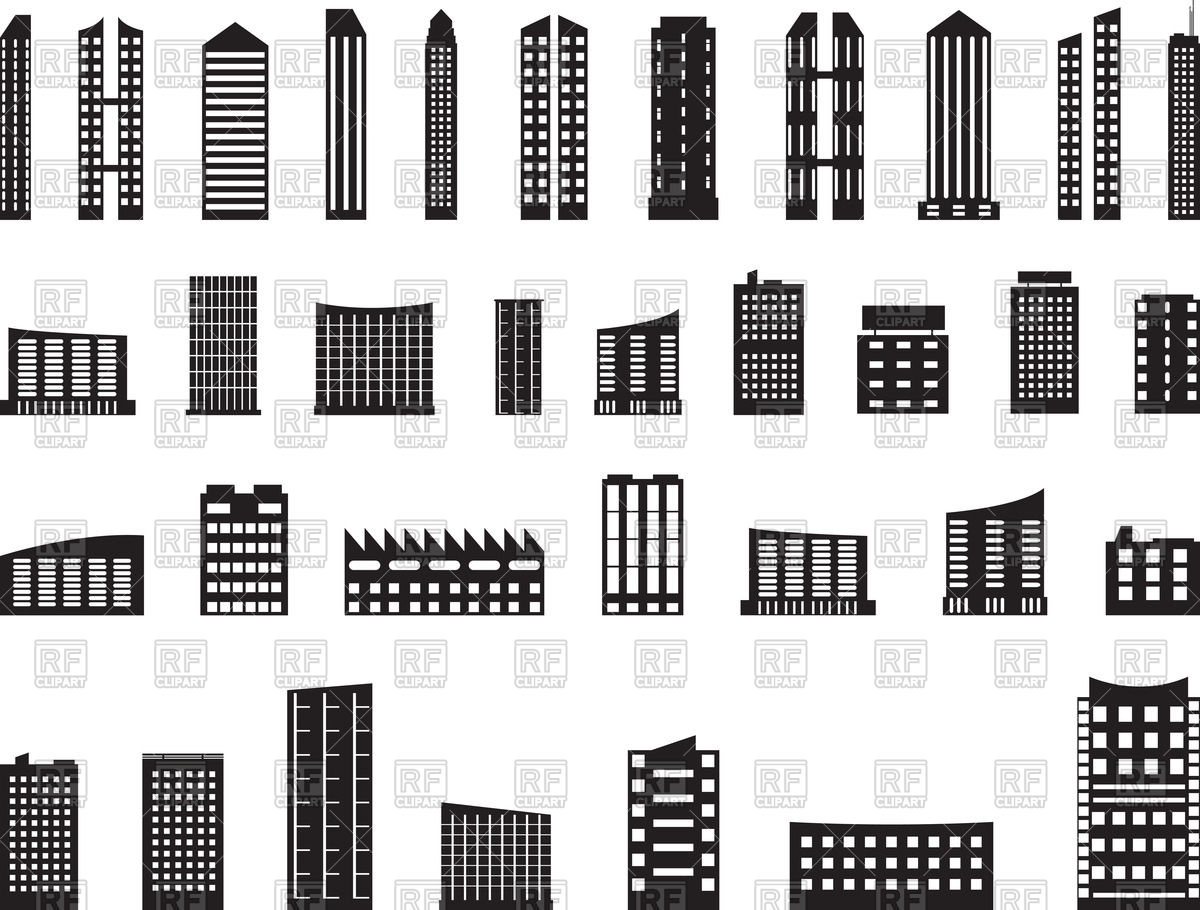 Building clipart vector free download svg stock Modern architecture - multistory buildings icons Vector Image ... svg stock