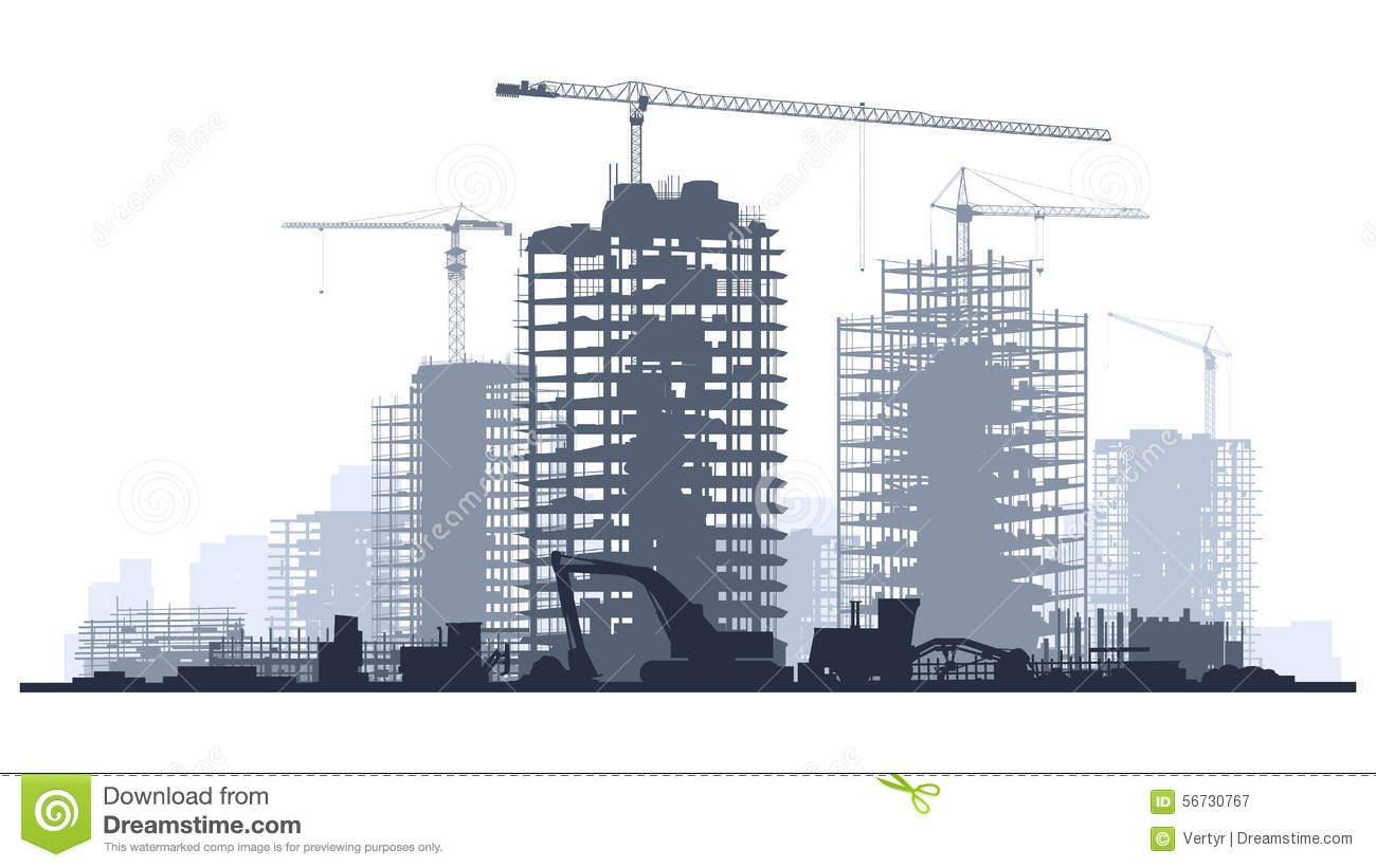 Building construction site clipart clip black and white Horizontal Banner Of Construction Site With Cranes And Building ... clip black and white