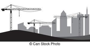 Vector eps images cranes. Building construction site clipart