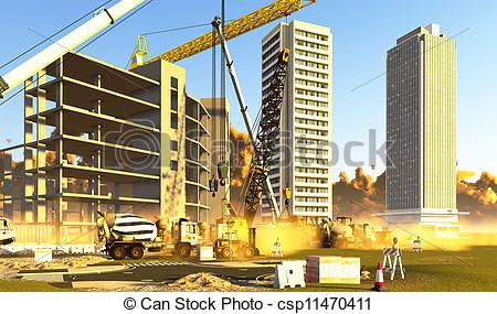 Building construction site clipart. Kid covered with dust