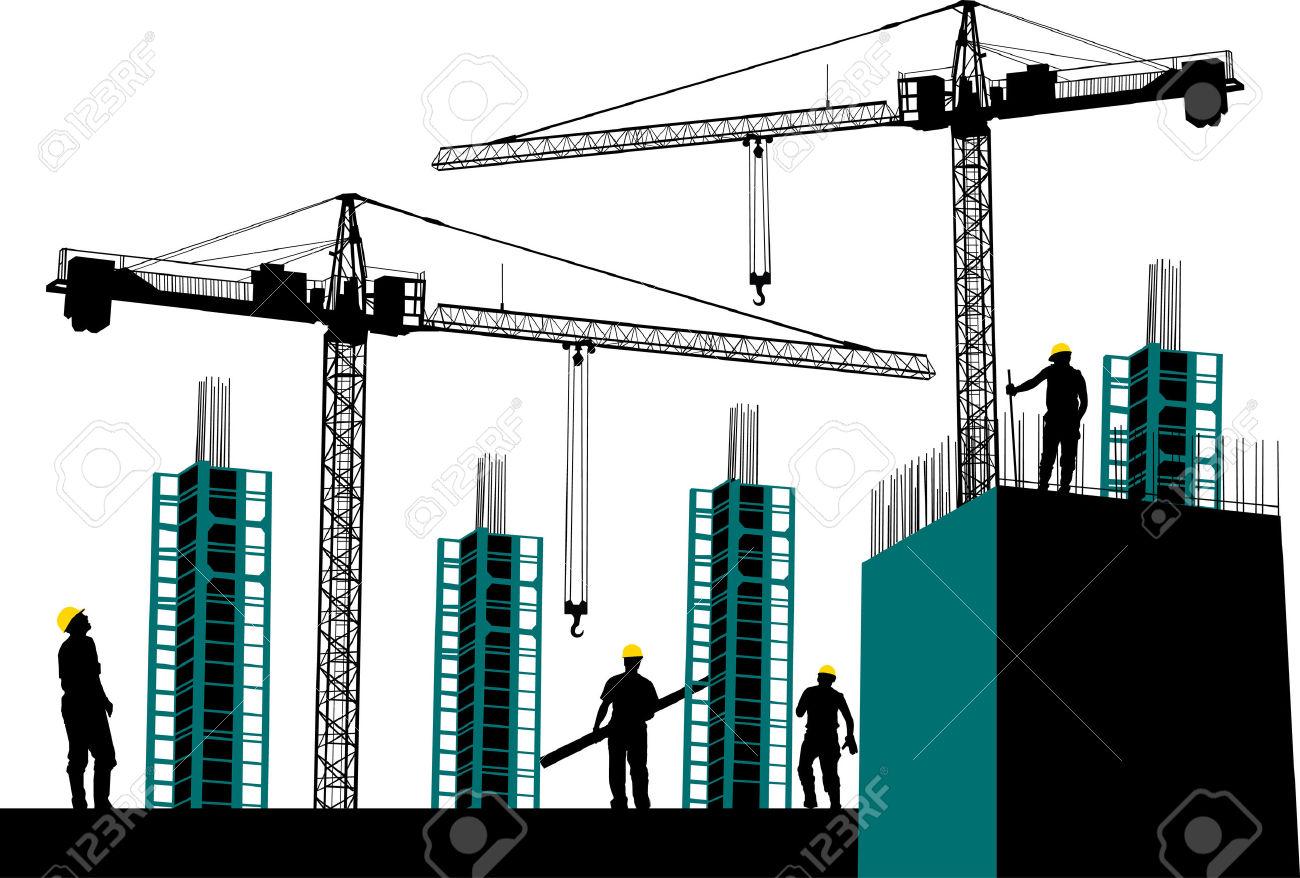 Building construction site clipart png download Building construction silhouette clipart - ClipartFest png download