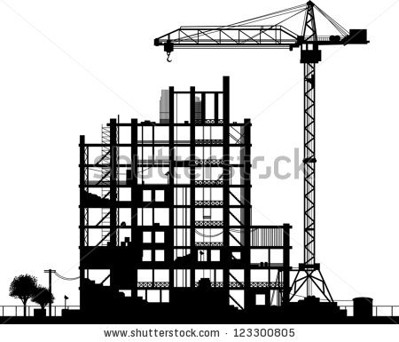 Building construction site clipart clipart black and white Construction Site Silhouette On White Background Stock Vector ... clipart black and white