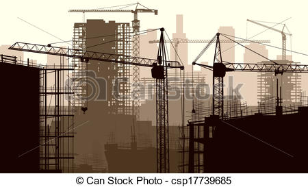 Building construction site clipart clip art free library Vector of Construction site with buildings. - Horizontal vector ... clip art free library