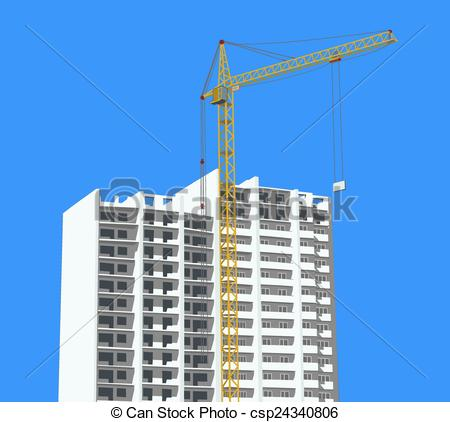 Vector of crane against. Building construction site clipart