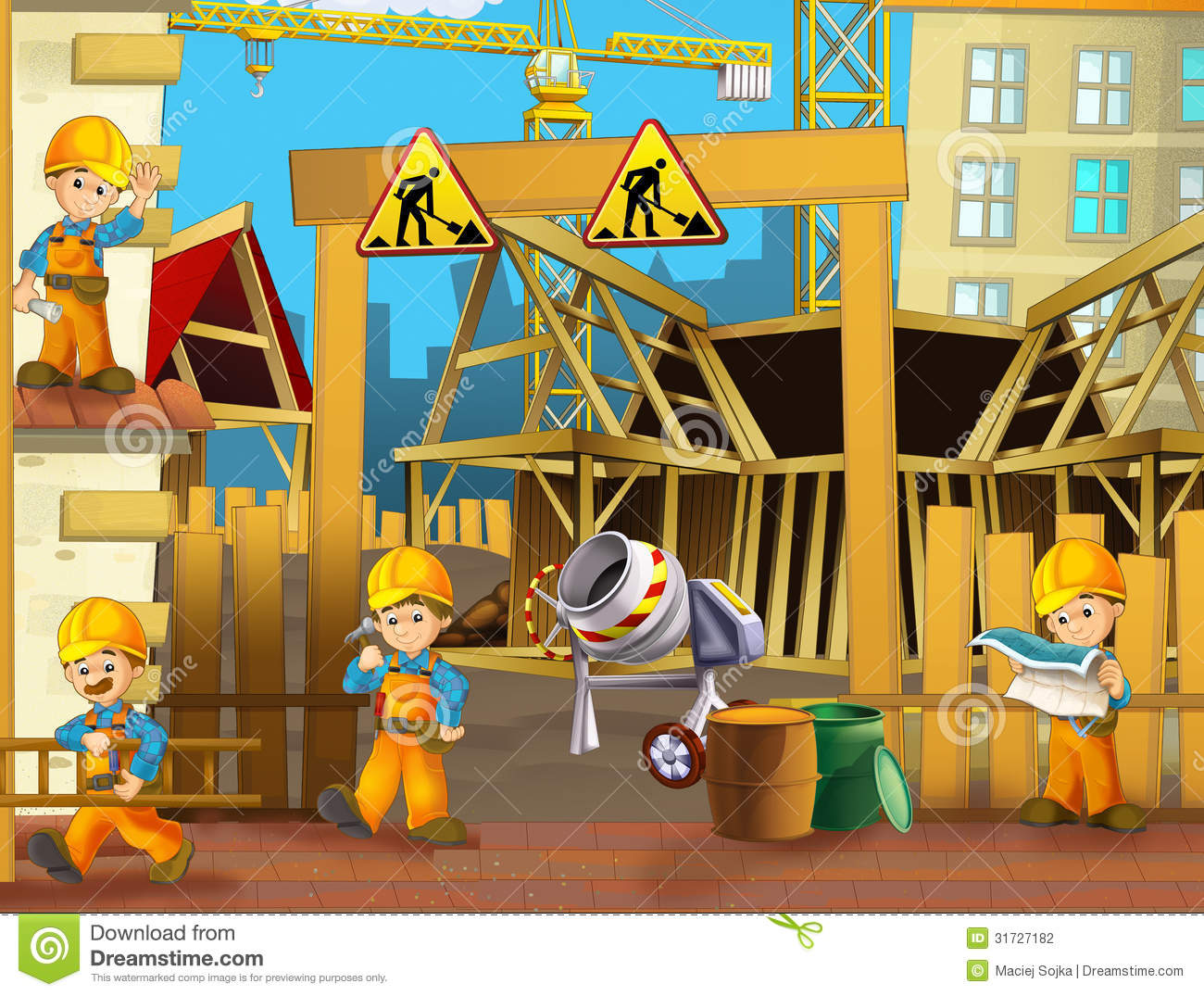 Building construction site clipart. Kid stock photography on