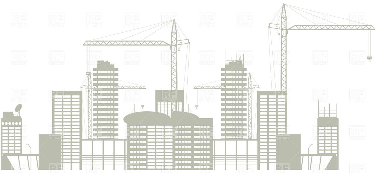 Building construction site clipart. Cityscape vector image rfclipart