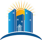 Of modern buildings with. Building logo clipart