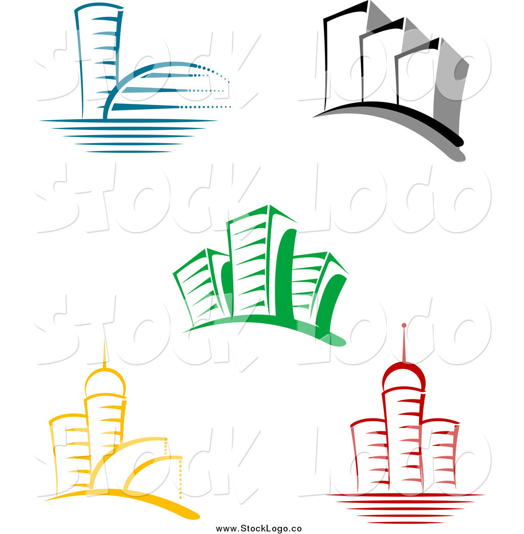 Building logo clipart. Vector of colorful skyscraper