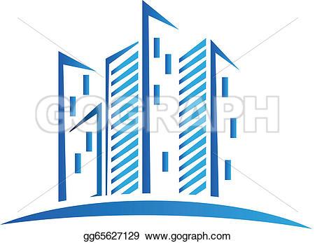 Building logo clipart clip art royalty free Vector Art - Modern blue buildings logo. Clipart Drawing ... clip art royalty free