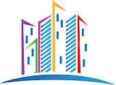 Building logo clipart jpg library download Clip Art of Skyscraper building logo vector k12243226 - Search ... jpg library download